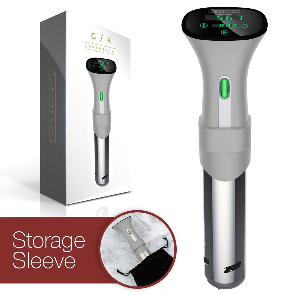 Sous Vide Immersion Circulator Cooker | UPGRADED - Only machine with DELAY-START Timer | Simplest to use & clean, set & go out of the box | BONUS Velvet Storage Sleeve & e-Recipe Book FREE by Gramercy Kitchen Company