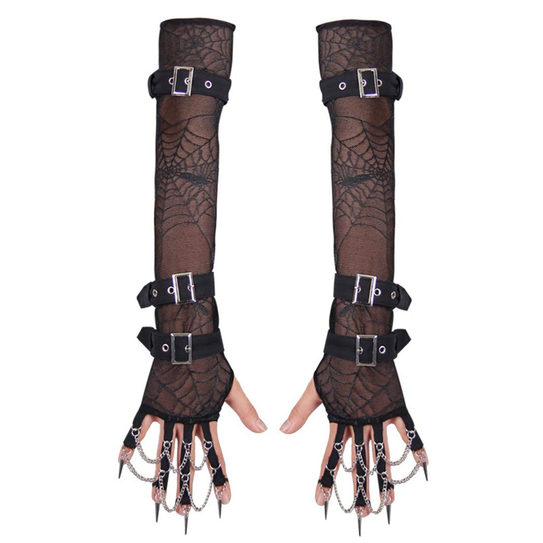 KERVINJESSIE Sexy Womens Full Length Fingerless Arm Warmer Satin Gloves with Rivet Metal Chain (Color : Black, Size : M)
