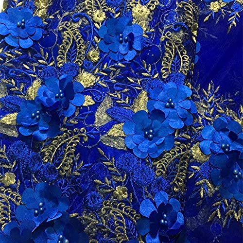 Milylace 5 Yards 3D Floral African Lace Fabric Nigerian Embroidered Mesh Lace Fabric with Beads for Wedding (Royal Blue) by Milylace (Image #5)