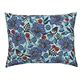 Roostery African Wax Print Africa Tribal Purple Birds and Blooms Design Challenge Standard Knife Edge Pillow Sham Blue Blooms and Black by Ottomanbrim 100% Cotton Sateen