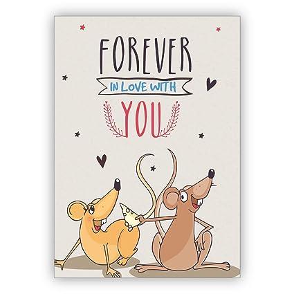 1 Tarjeta chistosa de amor con ratones para enamorados ...