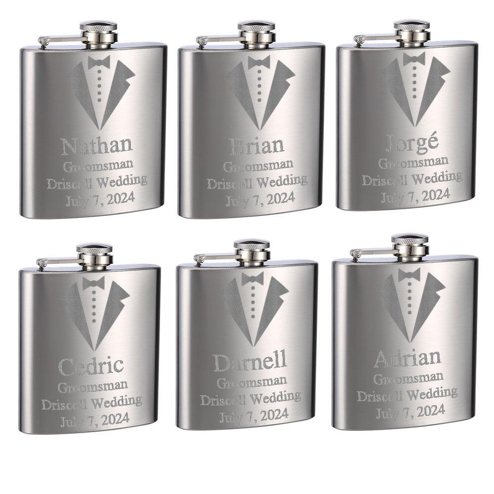 贅沢 Top Shelf Flasks Personalizedカスタム刻印6オンスステンレススチールGroomsmanタキシードFlasks forや結婚式 B07F9YPTW3、TrueメタルエッチングLasts Top a Flasks Lifetime,セットof 6 B07F9YPTW3, UF(ウフ):46b704fa --- a0267596.xsph.ru