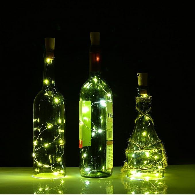 10 LED Luz botella mini luz cadena alambre Pila de botón para Navidad, fiestas, bodas Juego gresonic: Amazon.es: Iluminación