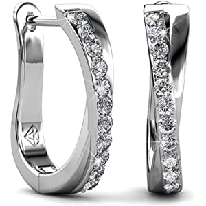 03feef56b Jade Marie ALLURE Silver Dangle Hoop Earrings, 18k White Gold Plated Small  Twisted Hoops with