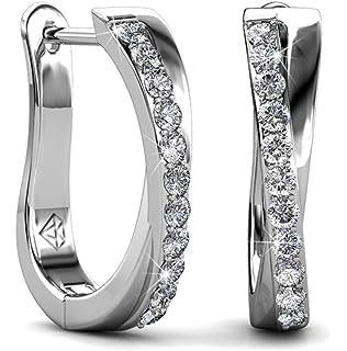 white sapphire Alluring 18K White gold filled Huggie earring Lovely gift