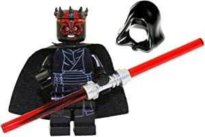 LEGO Star Wars Sith Minifigure - Darth Maul Evil Smile with Horns, Hood, and Lightsaber (75096)