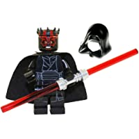 LEGO Star Wars Sith Minifigure - Darth Maul Evil Smile with Horns, Hood, and Lightsaber