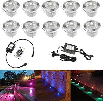 10pcs Luz LED Foco empotrable al Aire Libre 0.5W 45mm Ø IP67 ...