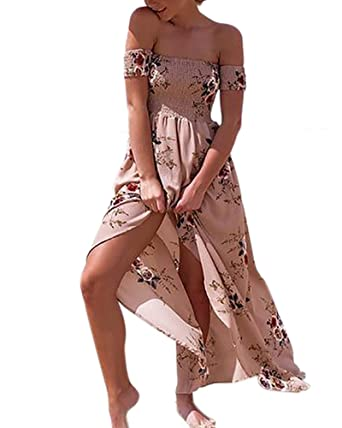 95c95ae508b Aofur Women Summer Vintage Boho Long Maxi Dress Party Beach Dress Floral  Sundress Side Slit (