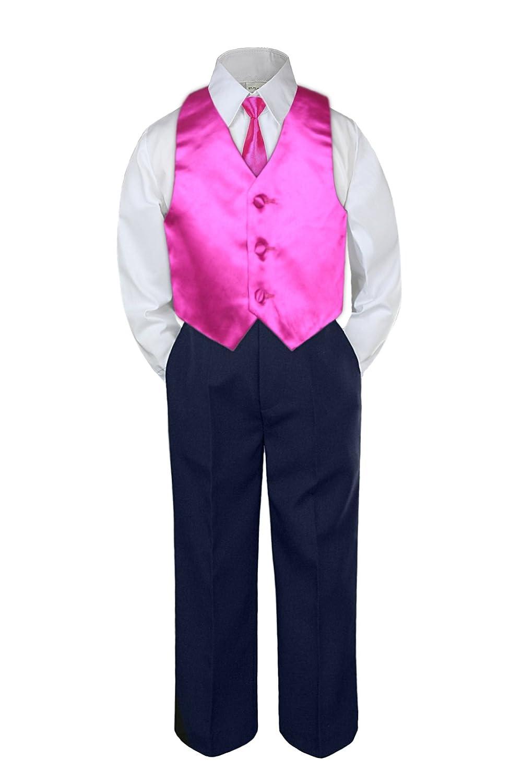 c085b43af7 4pc Baby Toddler Boy Formal Suit Tuxedo Navy Pants Shirt Vest ...