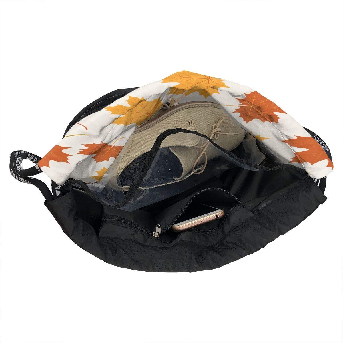 HUOPR5Q Autumn Leaves Drawstring Backpack Sport Gym Sack Shoulder Bulk Bag Dance Bag for School Travel
