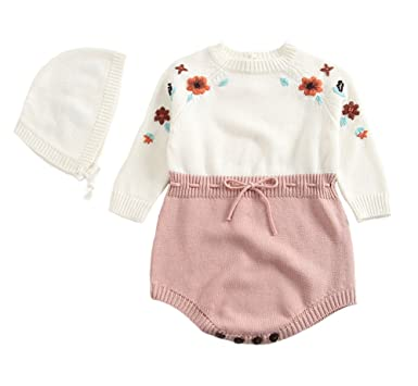 b1ad705c154e 2Pcs Newborn Baby Girls Cute Knit Strap Romper Flowers Jumpsuit Bodysuit  Cap Set White