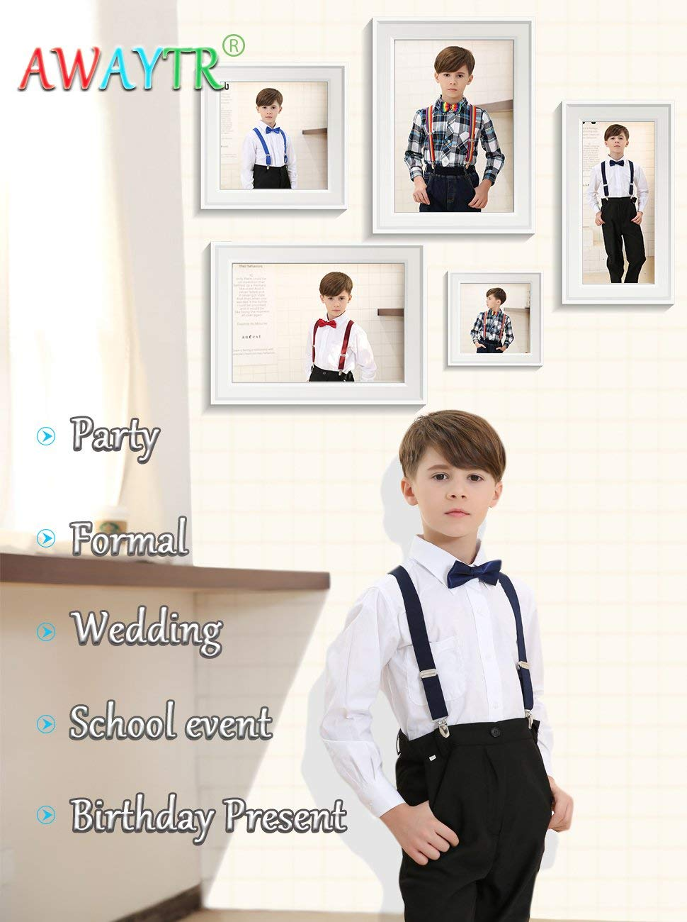 Kids Boy Suspenders Bowtie Set Adjustable Child Suspender for Toddler and Girls 7 Years to 5 Feet Tall Black 31 Inches
