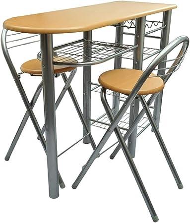 Material: Madera/ Acero,Color: Marrón claro/ Acero,Dimensiones de la mesa: (Ancho x Profundidad x Al