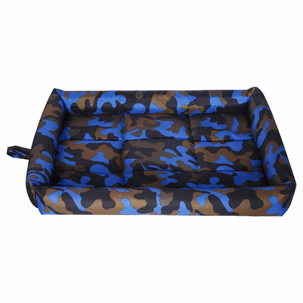 bluee Large bluee Large Washable Puppy pet Bed Pet Supplies Spring and Summer Models Ice Silk Cool Pad Scratch Resistant Bite Teddy Dog Mat (color   bluee, Size   L)