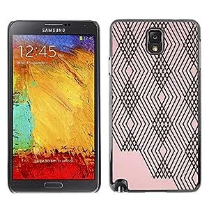FECELL CITY // Duro Aluminio Pegatina PC Caso decorativo Funda Carcasa de Protección para Samsung Note 3 N9000 N9002 N9005 // Pink Peach Black Lines Checkered Pattern
