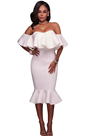 c15686f386a Image Unavailable. Image not available for. Colour  Women s White Ruffle  Off Shoulder Mermaid Midi Party Dress ...