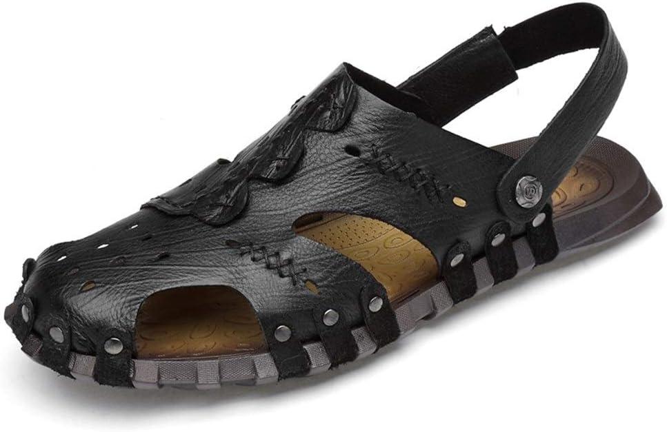 Schwarz 48 EU Goodvk-schuhe Atmungsaktive Sandalen OX Leder Slipper Schuhe Slip On Style Hohl Exquisite N&au ;hte Closed Toe Sandalen f&uu ;r M&au ;nner (Farbe   Schwarz, Gr&ou ;ße   48 EU)