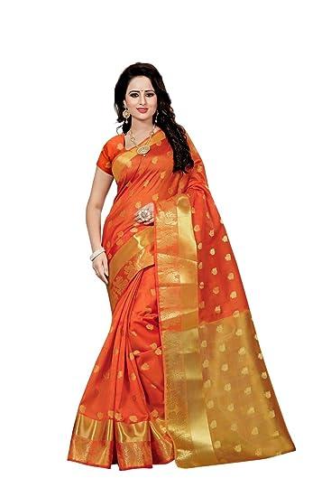79c9f60a04f4c5 Ethnic Diwa Orange Cotton Silk Kanjivaram Saree With Blouse Piece for  Women(DEVYANI ORANGE Free Size)  Amazon.in  Clothing   Accessories