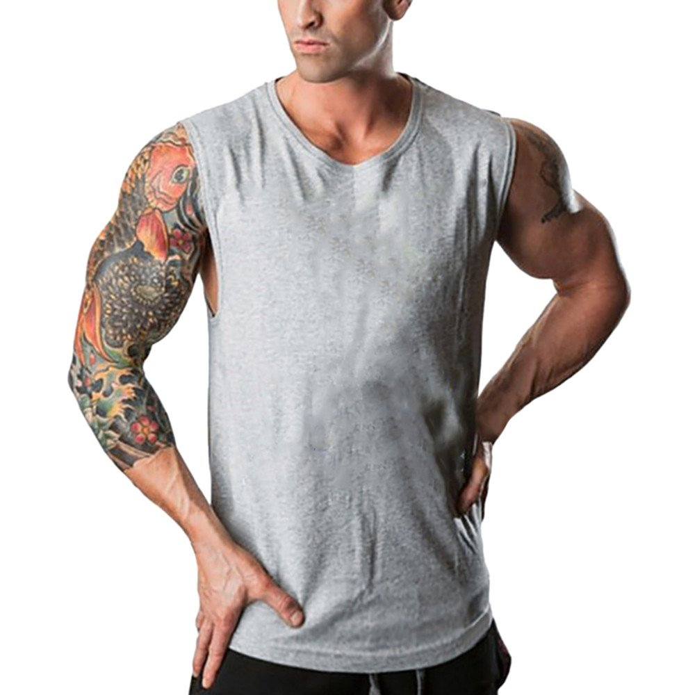 Pitauce Sleeveless Shirts for Men Loose Tees T Shirts for Men Men's Fitted Muscle Workout Tank Tops Gym T-Shirts Grey
