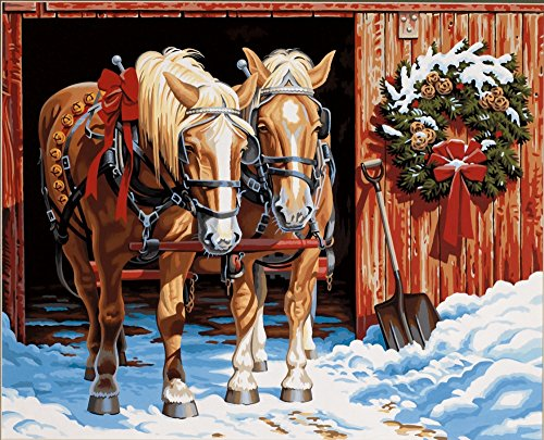 Dimensions Christmas Horses Paint by Numbers for Adults, 20'' W x 16'' L