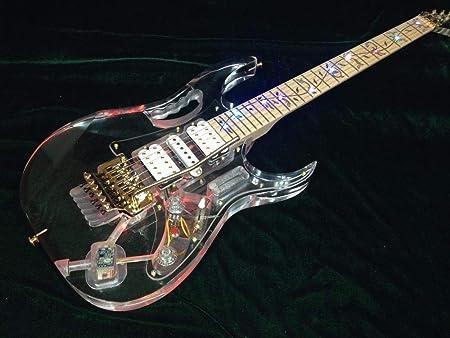 Amazon.co.jp: アクリルボディは光エレキギターギターつるの花のインレイメイプルネックギターゴールド・ハードウェア・ピックアップのギターを主導しました Ztoyby。 (Size _ 40 inches)_ ホーム&キッチン
