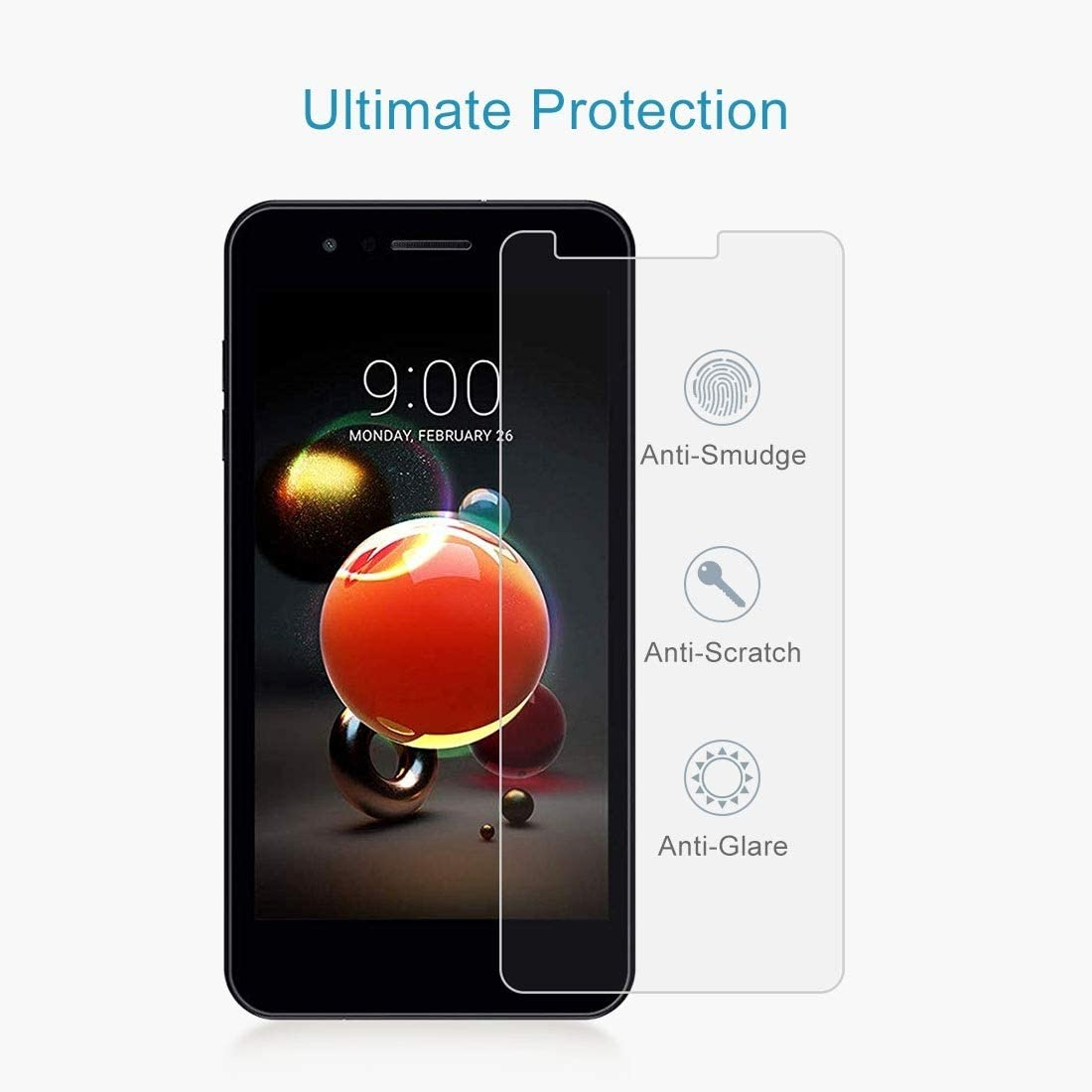 ZENGMING Tempered Glass Film Screen Protector 100 PCS 0.26mm 9H 2.5D Tempered Glass Film for LG K9 Anti-Scratch
