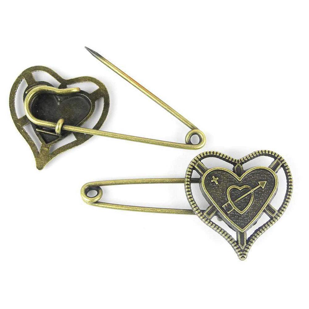 Price per 200 Pieces Antique Bronze Tone Jewelry Charms Findings Arts Crafts Beading Making Charmes R00201 Heart Safety Pins Brooch by ebemallmall Charms (Image #1)
