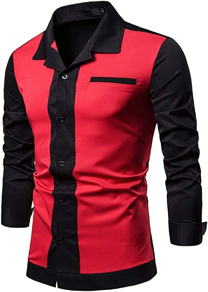 TIANRUN Mens Slim Pocket Shirt Solid Patchwork Button Casual Long Sleeve Top