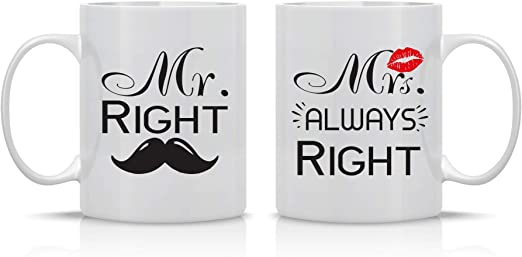 Wedding Gift for Couple Right Mrs Mr Engagement Gifts by Funnwear Always Right 11oz Ceramic Mug Set Unique Wedding Gift For Bride and Groom His and Hers Anniversary Present Husband and Wife