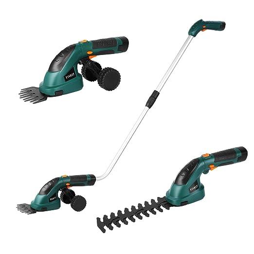 FIXKIT Tijeras Cortacésped con Batería Hedge Trimmer Shrub Shears 2 en 1 con Mango Telescópico, Ruedas - Incluye Batería y Cargador, 7.2 V, 1.5 Ah * 2