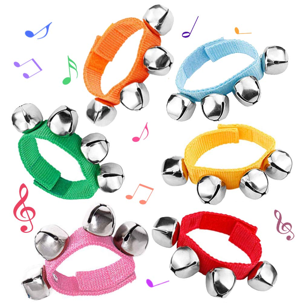 Multi-Color Musical Rhythm Toys Wrist Bells and Ankle Bells Wrist Foot Bell Instrument Percussion Orchestra Rattles Toy. 14 PACK MELIFE Band Wrist Bell