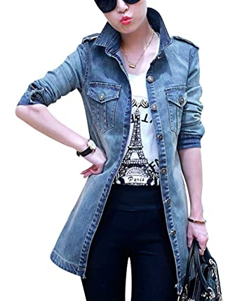 a5e80c90b8f900 BOLAWOO Damen Jeansjacke Lange Herbst Revers Longsleeve Jeans Jacke Outwear  Marken Einreihig Casual Denim Herbstjacke Mantel: Amazon.de: Bekleidung
