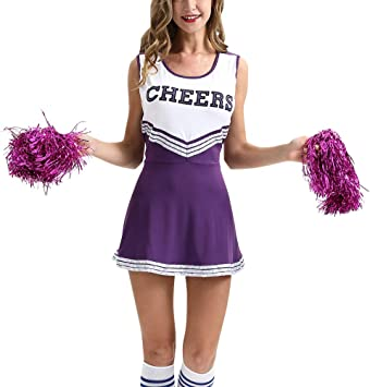 Cheerleader High School Musical Purple Uniform Costume With Pom Poms Fancy Dress