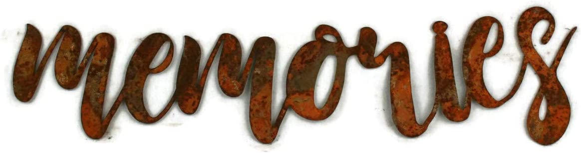 Memories Small Size Naturally Rusted Steel Word Art