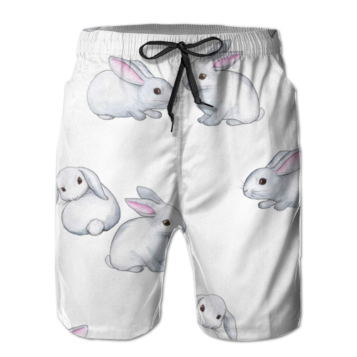 Mens Swim Trunks Rabbit Cute Easter Watercolor White Beach Shorts Quick Dry Mesh Lining Board Shorts Swimwear with Pockets