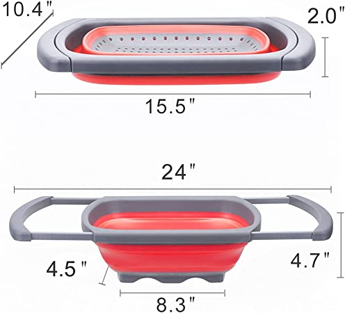Over The Sink Strainer With Steady Base For Standing Glotoch Kitchen Collapsible Colander Dishwasher-Safe,BPA Free Red/&Grey 6-quart Capacity