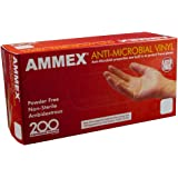 AMMEX - AAMV42100-BX - Vinyl Gloves - Anti-Microbial, Powder Free, Food Safe, Industrial, 3mil, Small, Clear(Box of 200)