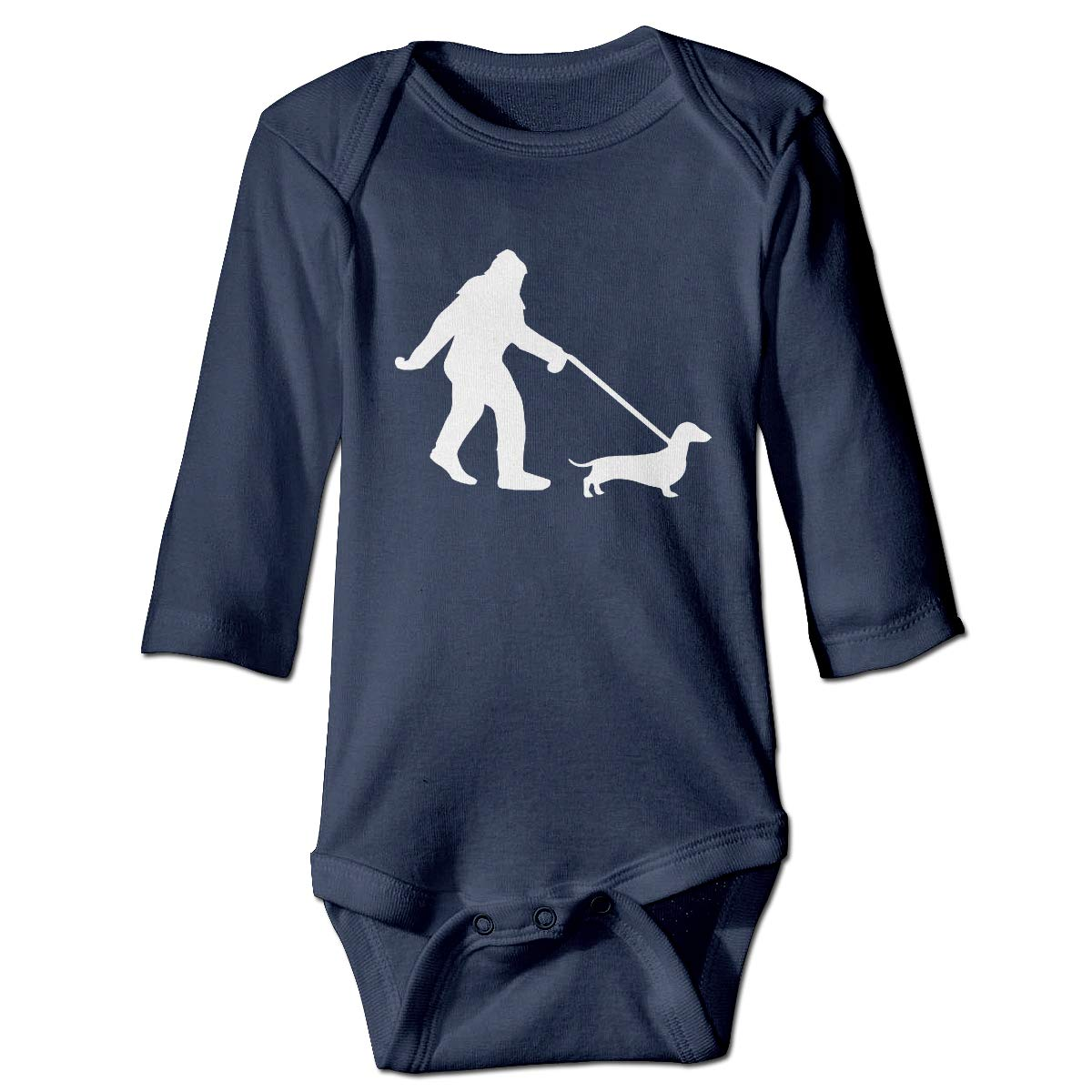 A14UBP Infant Baby Boys Girls Long Sleeve Jumpsuit Romper Bigfoot Walking Dachsund Unisex Button Playsuit Outfit Clothes