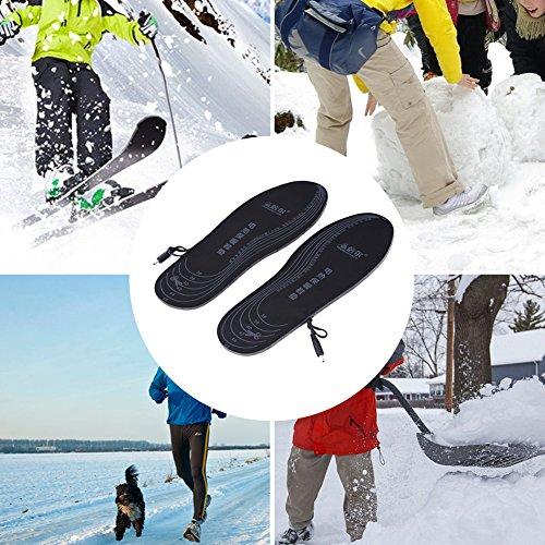 Semelles chauffantes adaptables rechargeables via câble USB pour femme/homme - pour chasse, pêche, randonnée, camping 2