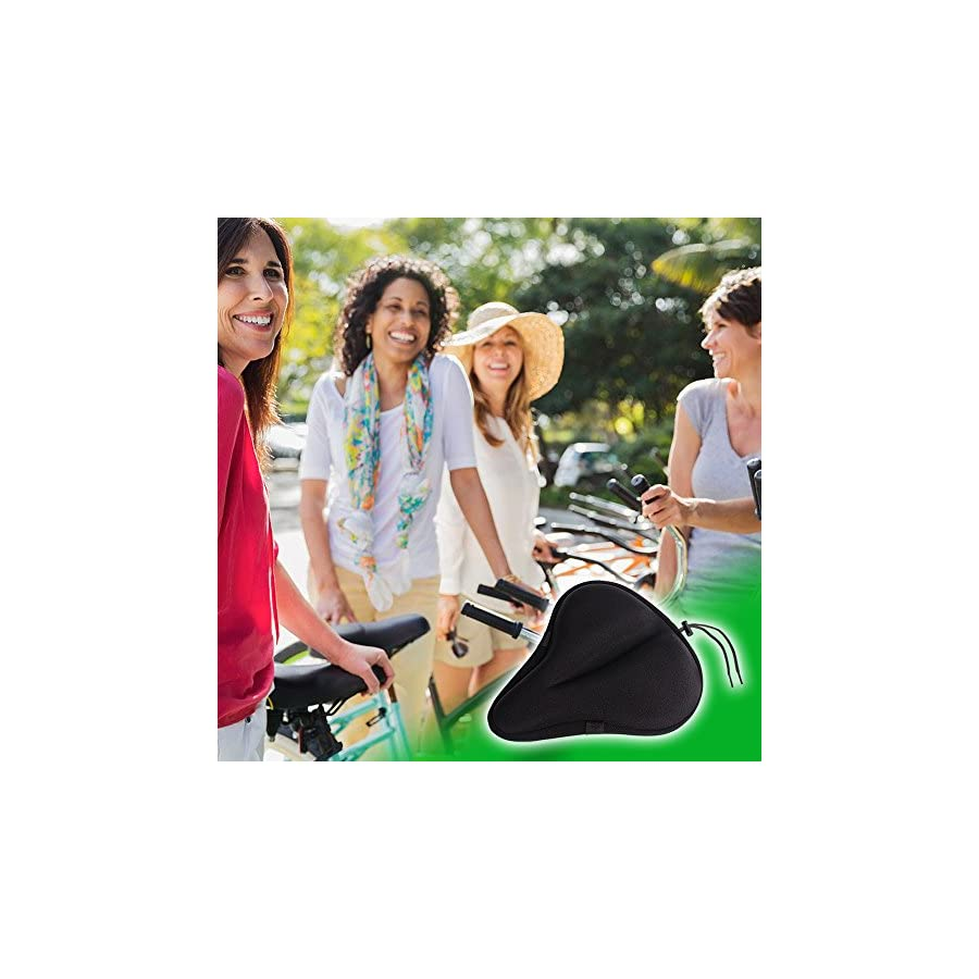 Yougai Exercise Bike Seat, Most Comfortable Gel Bicycle Saddle Pad Fits Stationary Bikes and Indoor Cycling Extra Soft Bike Seat Cushion