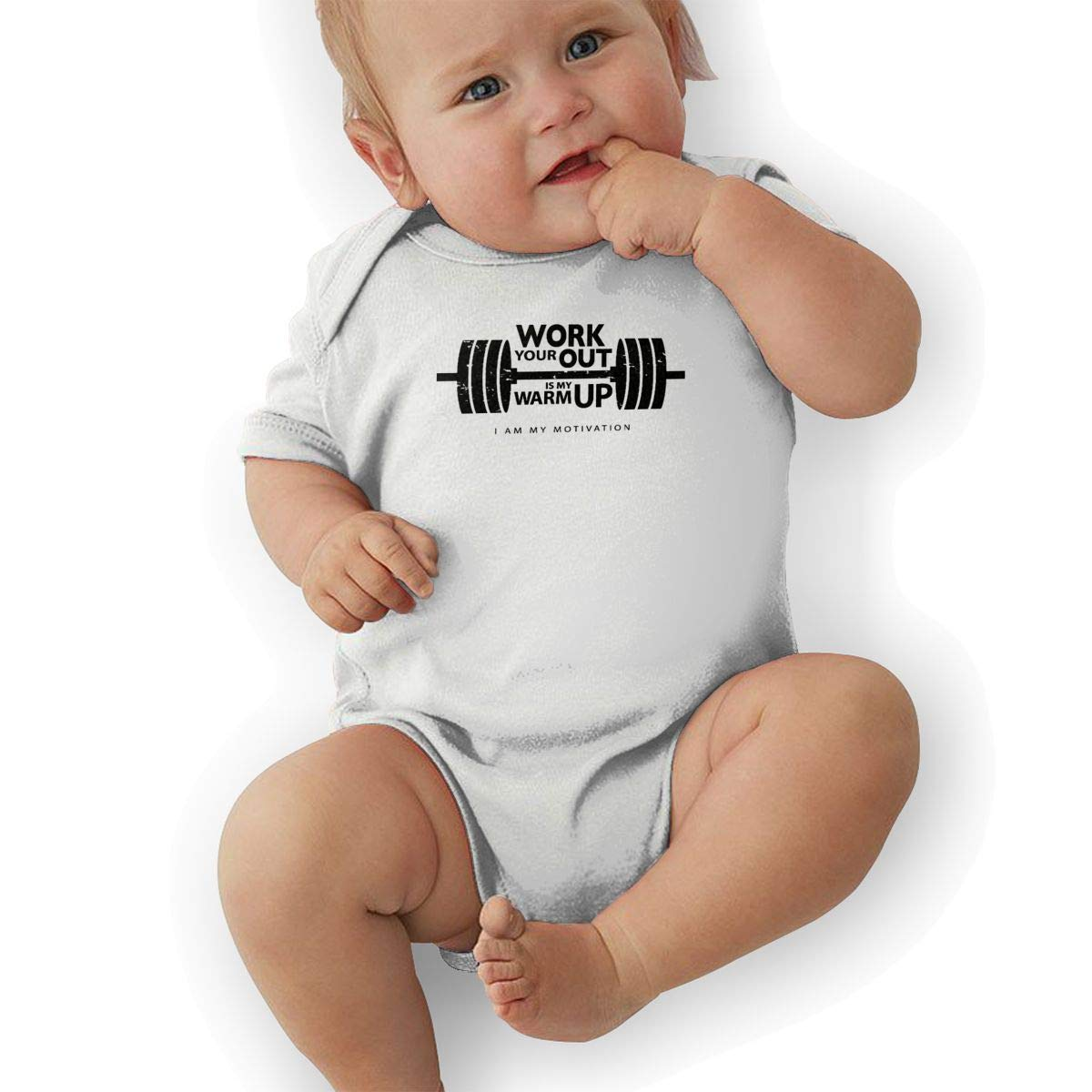 Infant Baby Girls Bodysuit Short-Sleeve Onesie Your Workout is My Warmup Print Outfit Spring Pajamas