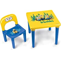 Minions My First Activity Childrens Table and Chair/Official Preschool Childs Desk and Chair, Age 3+, Bob/Kevin/Stuart 'Le buddies' Childrens Furniture Set, Strong Plastic Made in France Yellow/Blue