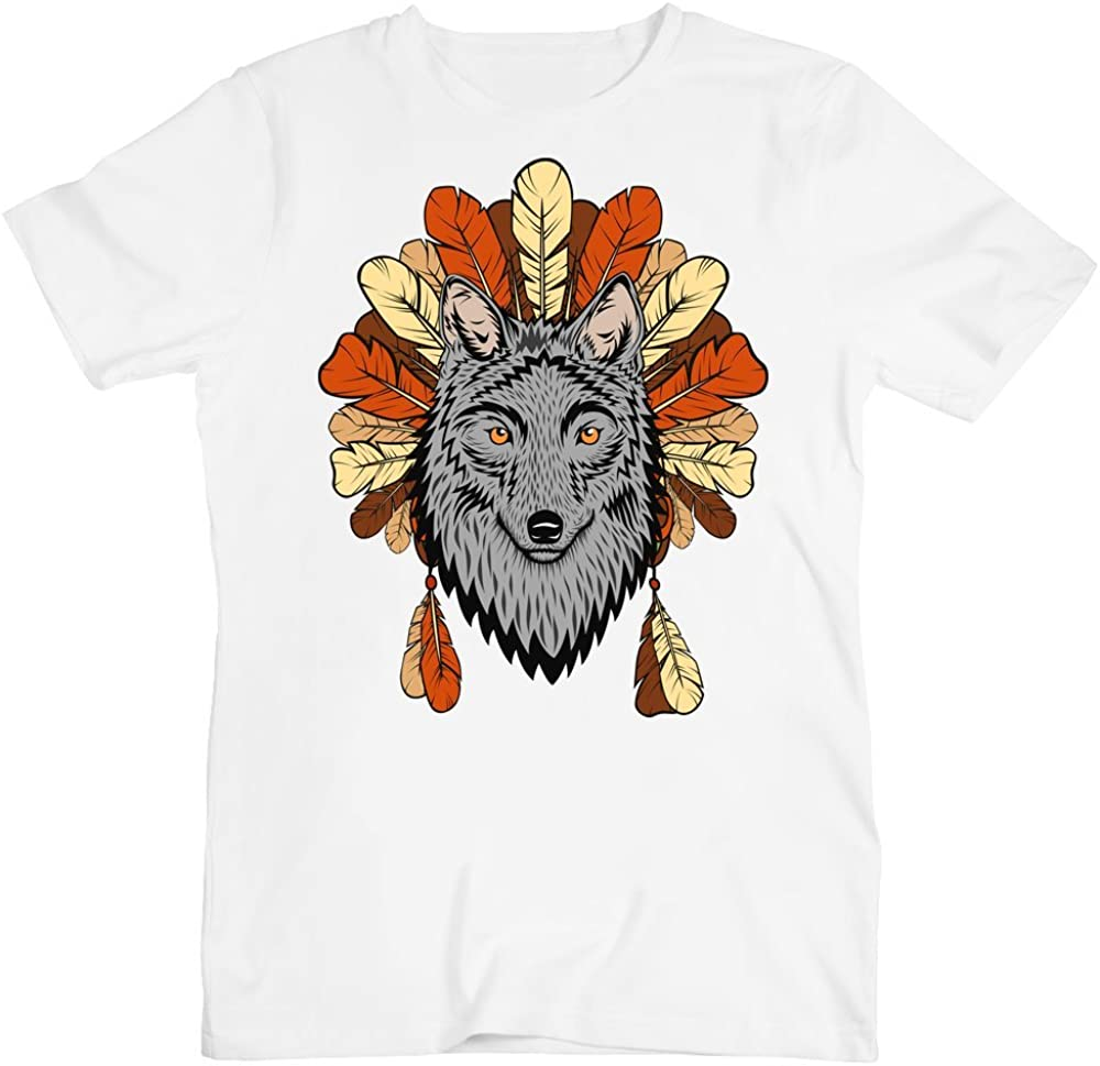 Bohemian Wolf with Autumn Leaves Mens T-Shirt