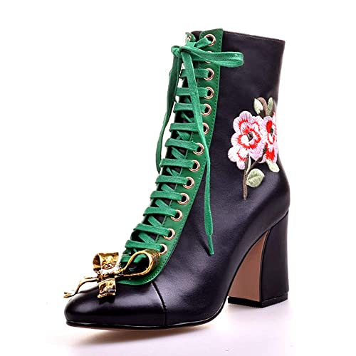 4895abfbcdfee3 New Women Luxury Embroider Flower Boots Genuine Leather Ankle Boots Chunky  High Heels Lace Up Shoes