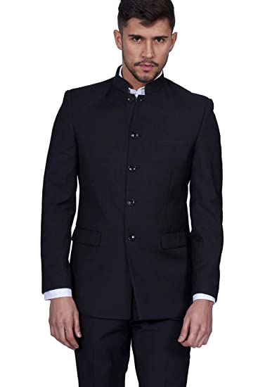 detailed look great discount sale aliexpress Marc Darcy Mens 2 Piece Black Grandad Chinese Beatles Collar Casual  Business Wedding Suit Formal Blazer and Trousers 34-52 Available