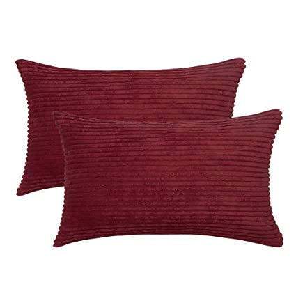 MIULEE Pack of 2 Corduroy Soft Soild Decorative Square Throw Pillow Covers Cushion Cases Pillow Cases for Couch Sofa Bedroom Car 12 x 20 Inch 30 x 50 ...