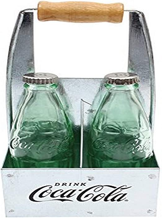 Coca-Cola Glass Salt and Pepper Shaker Set in Galvinized Steel Holder