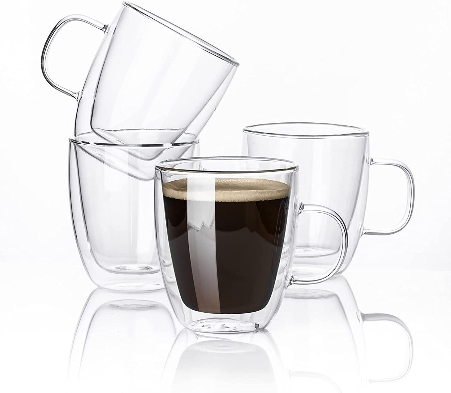 Kanwone Glass Coffee Mugs - 12.5 Ounce - Double Wall Insulated Mug set with Handle, Clear Coffee Mugs, Perfect for Latte, Americano, Cappuccinos, Tea Bag, Beverage, Set of 4