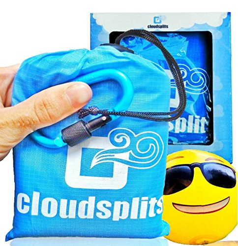 Price comparison product image Pocket Blanket for Beach, Outdoor, Picnic, Camping and Hiking. Waterproof, Compact, Portable. Includes 4 sand stakes, carabiner and emoji beach ball. Beach vacations eBook bonus - by CloudSplits.